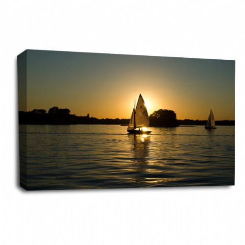 Sunset Seascape Wall Art Picture Golden Orange Sailing Boat Print